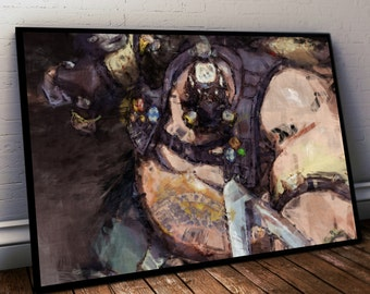 Overwatch Roadhog Poster. Roadhog Painting Print.  Mounted Canvas available on request.