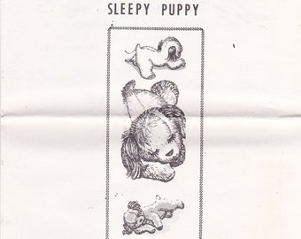 Alice Brooks Design 7342 Vintage Pattern Sleepy Puppy Stuffed Toy- Rare Mail Order Pattern UNCUT