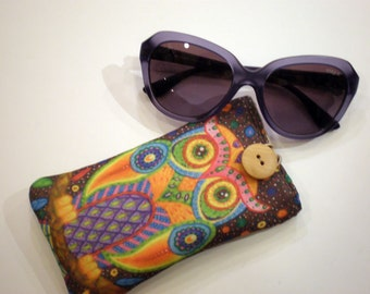 Fabric sunglass case, Sunglasses sleeve, Soft eyeglass case, Case for sunglasses, Quilted eyeglass case