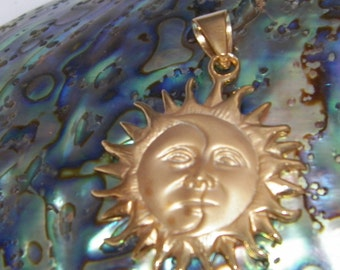 New .925 Sterling Silver Sun Moon Pendant - Stardust,Satin finish 14 K Gold Plate