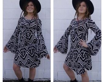 Black and White Asymmetrical Hooded Fringe Dress