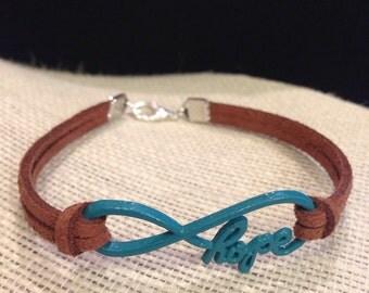 Teal&Brown Hope Infinity Bracelet