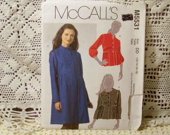 McCall's Pattern - M 5531 - Misses Lined Jacket And Coat - Size 12,14,16,18 - Factory Fold, Uncut Pattern