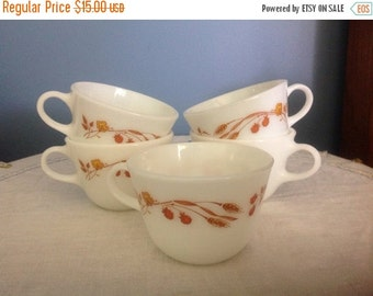 25%  Sale Event Six Vintage Pyrex Coffee Cups Tea  Cups Harvest Home Design Wheat and Flowers