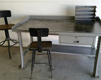 Vintage Industrial Steel Kitchen Island Desk Table Work Bench