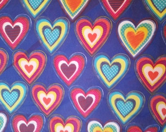"""Colorful Hearts Large Fat Quarter - 100% Polyester - 21"""" x 22"""""""