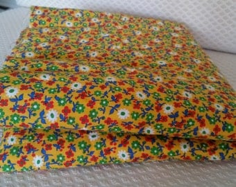 Vintage 1960's / 70's Gold Calico Pre-Quilted Fabric - 1 yard