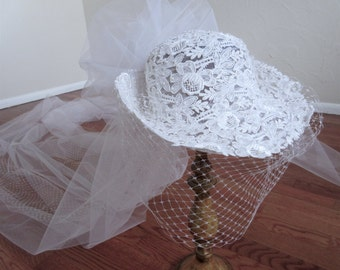 Wedding Hat  Bride   Hat with Veil   White Lace Hat