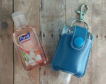Small Hand Sanitizer Holder, Bright Blue Vinyl with Snap, Great for Backpacks, Bags & Purses, Quick Ship, Choose from 24 Colors, Made in USA