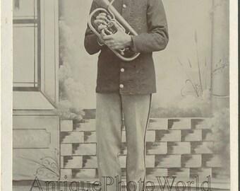 Soldier in uniform w trumpet antique cabinet photo Ohio