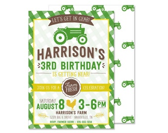 Green Tractor Birthday Invitation - PRINTED