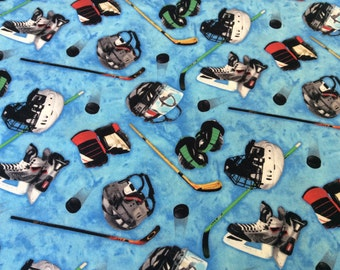 "Hockey Equipment curtain valance 41"" x 15"" in 100% cotton - Handmade new."