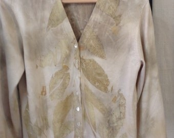 Silk Knit Nature Eco Printed Sweater Redeployed Wearable OOAK Art Textile