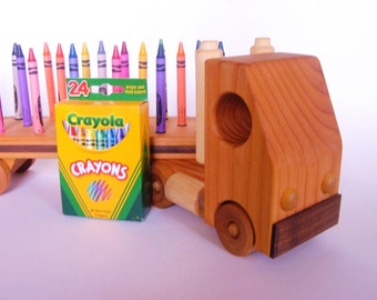 Wooden Truck - Crayon Holder - Tractor Trailer - Crayon Holder for 24 Crayons - Gift for Boys and Girls