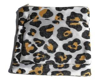 Reusable Zipper Snack Sandwich Bags set of 2 Animal Print Cotton Twill