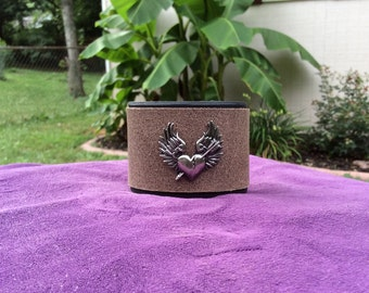 Womens Black and Brown Leather Cuff with Winged Heart