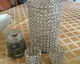 Crystal large and small candle votive holders