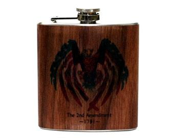 Personalized Wood 2nd amendment flask, NRA gift flask, gun flask