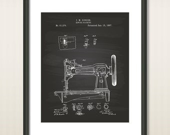Sewing Machine 1867 Patent Art Illustration - Drawing - Printable INSTANT DOWNLOAD - Get 5 Colors Background