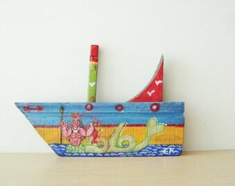 Mermaid on wooden boat, folk art shabby boat of reclaimed wood, salvaged, old wood folk boat with Greek mermaid painted, Greek folk art