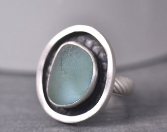 Sea Fog Blue Gray Sea Glass Ring, English Sea Glass, Size 7 Ring, Sterling Silver, Handmade Sea Glass Ring By MarkWhiteDesigns