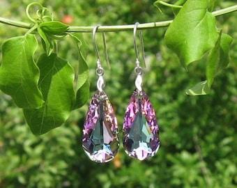 Genuine Swarovski Drop Crystal Earrings - Purple Bridal Earrings in Sterling Silver - Swarovski Earrings - Purple Earrings - DK391
