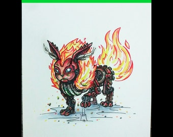 Steampunk Flareon ORIGINAL Watercolor