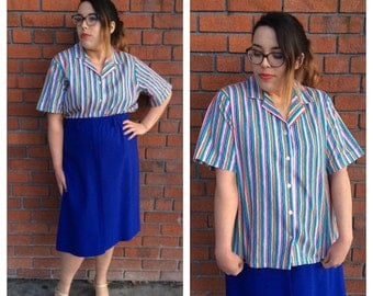 1980's Rainbow Brite Striped short sleeve Button Up Blouse / Large + multi colored / Brand - Blair