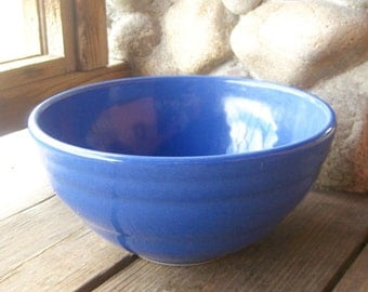 Vintage Ringed Pottery Mixing Bowl, Probably Bauer Pottery, Cobalt Blue, Cottage Chic