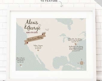 Wedding Guest Book Map Print Travel guest sign in board - United States Map Guestbook idea customized map