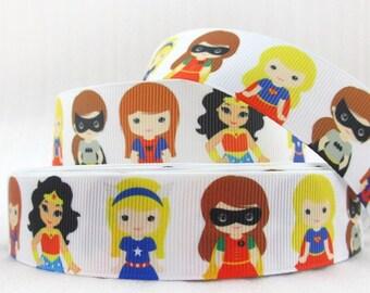 "By The Yard 1"" Big Girls Super Heroes Grosgrain Ribbon Great for Hair Bows Scrapbooking Lanyards Lisa"