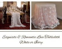 Exquisite LACE TABLECLOTH, White or Ivory, Scroll Down and Read the Item Description then Select Size/Color on Drop Down Menu, Shabby Chic