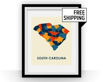South Carolina Map Print - Full Color Map Poster