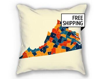 Virginia Map Pillow - VA Map Pillow 18x18