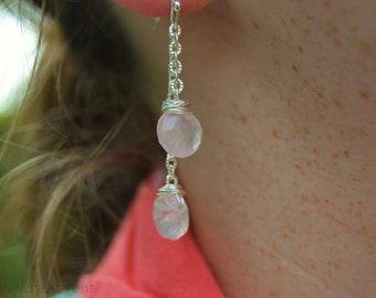 Rose Quartz Double Tiered Dangle Earrings with Silver Plated Chain and Earwires / Baby Pink / Pink and Silver / Bridesmaid jewelry / Wedding