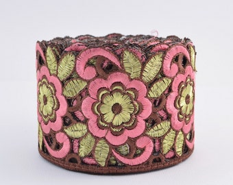 Gold Trim, Indian Border, Lace Trim, Embroidered Lace Trim, Border, Indian Style, Jacquard, Floral, Brown, Dusty Pink, Gold -  meter