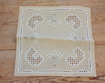 Beautiful Openlace/hardanger Embroidered Light Brown Tablecloth/dolly From  Sweden 1960