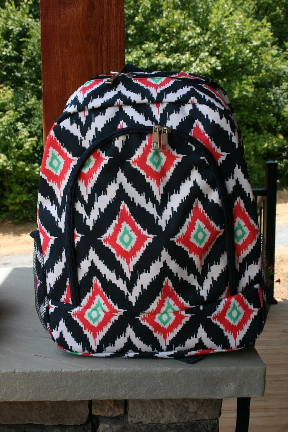 girls monogrammed backpack navy coral ikat by doublebmonograms