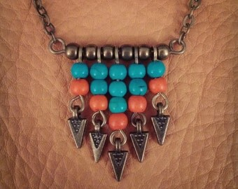 Finch // Chevron Necklace // Boho Necklace // Turquoise Necklace // Bohemian // Tribal Necklace // Gypsy // Arrow Necklace // Boho Chic