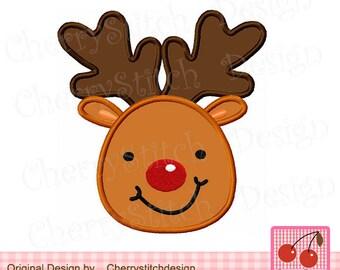Reindeer boy CH0018,Christmas Reindeer Face Applique -for 4x4 5x7 6x10 hoop -Machine Embroidery Applique Design