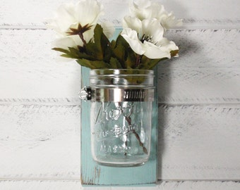 SALE- 1 Jar Wooden Wall  Vase - Home Organizers- Cottage Chic- French Chic- Shabby- Country Decor- Choose From Many Colors