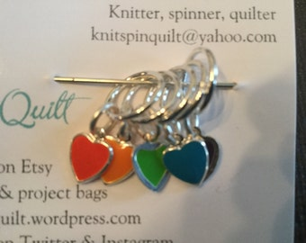 Snag-free knitting stitch markers -- set of five -- enameled heart charms