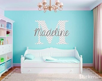 Personalized Chevron Pattern Print Name Monogram Girls Boys Wall Decal Graphic Vinyl Sticker Home Bedroom Decor