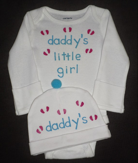 Daddy's Little Girl Bodysuit And Hat Gift Set For Newborn