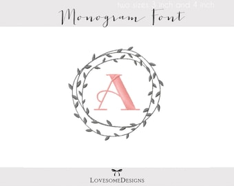 Branch Wreath Monogram Two Sizes Embroidery Font, Machine Embroidery Design, Laurel Wreath Monogram, Monogram Font Embroidery, Branch Wreath