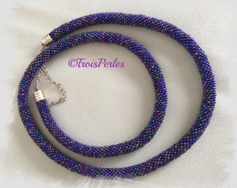 131 Beaded crochet necklace - necklace - Pearl - crochet chain