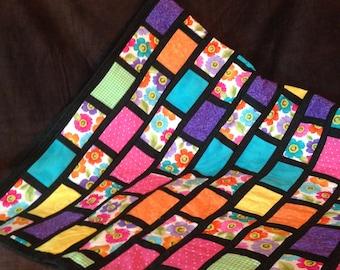 Windowpane lap quilt