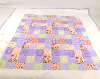 Baby girl patchwork quilt, lilac, purple and pink crib or pram quilt, baby blanket christening new baby shower or christmas gift made in UK