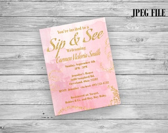 Sip and see invite Etsy