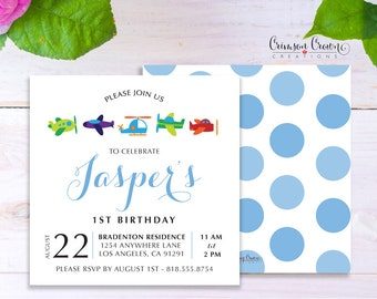 Baby Airplanes Child's Birthday Invitation - Baby, Toddler, Kid's Travel Birthday Party Invite - Flying Pilot Party - Digital File